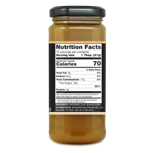 Wedderspoon Gold Raw Monofloral Manuka Honey Perspective: right