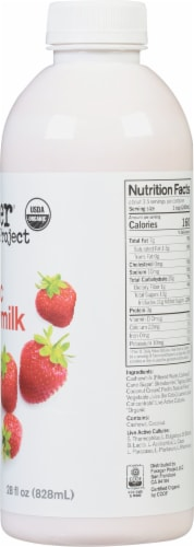 Forager Project Organic Dairy-Free Strawberry Probiotic Cashewmilk Yogurt Alternative Drink Perspective: right