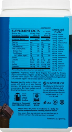 Sunwarrior Warrior Blend Plant-Based Chocolate Dietary Supplement Protein Powder Perspective: right