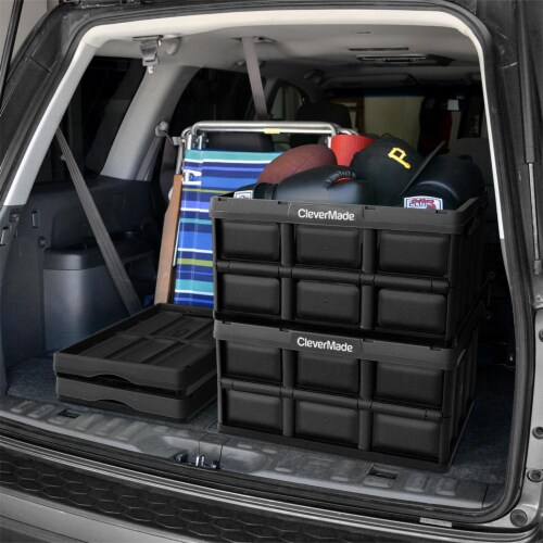 CleverMade Durable Stackable 62L Home Collapsible Storage Bins, Black (3-Pack) Perspective: right