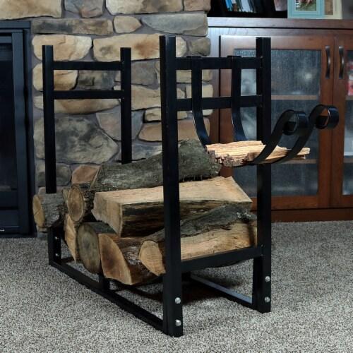 "Sunnydaze Log Rack and Kindling Holder 30"" Steel with Black Finish Wood Storage Perspective: right"