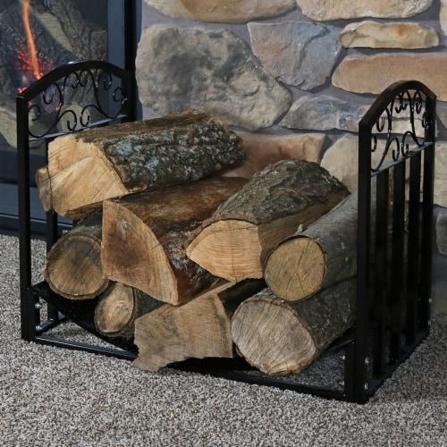Sunnydaze 2' Indoor/Outdoor Firewood Log Rack - Steel Fireplace Storage Holder Perspective: right