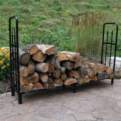 Sunnydaze Log Rack 6' Black Steel Indoor Outdoor Decorative Firewood Holder Perspective: right