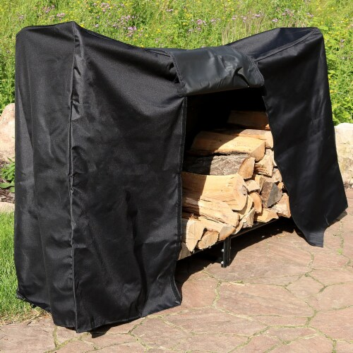 Sunnydaze Firewood Steel Log Holder Storage Holder with Waterproof Cover - 6' Perspective: right