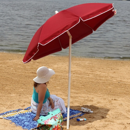 Sunnydaze Beach Umbrella w/ Tilt Function Shaded Comfort - Steel - Red - 5' Perspective: right