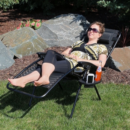 Sunnydaze Zero Gravity Lounging Lawn Chair with Pillow and Cup Holder - Black Perspective: right