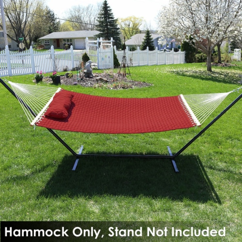 Sunnydaze 2-Person Quilted Fabric Spreader Bar Hammock with 12' Stand - Red Perspective: right