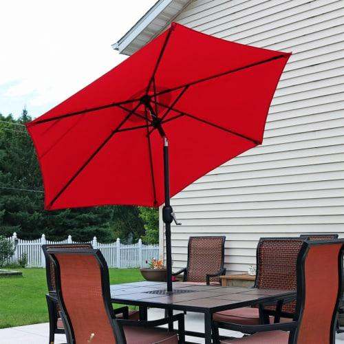 Sunnydaze Outdoor Patio Market Umbrella w/ Tilt & Crank - Aluminum - 7.5' - Red Perspective: right