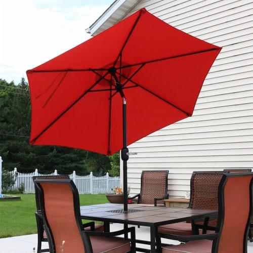Sunnydaze Patio Market Umbrella w/ Tilt & Crank - Aluminum - 7.5' - Burnt Orange Perspective: right