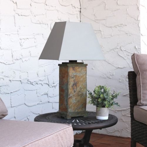"""Sunnydaze Indoor-Outdoor Decorative Natural Slate Table Lamp -Electric - 24"""" Perspective: right"""