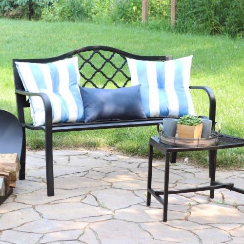 "Sunnydaze 2-Person Black Cast Iron Metal Lattice Outdoor Patio Garden Bench -50"" Perspective: right"