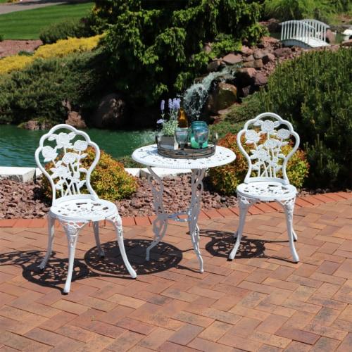 Sunnydaze 3-Piece White Flower Designed Cast Aluminum Patio Furniture Bistro Set Perspective: right
