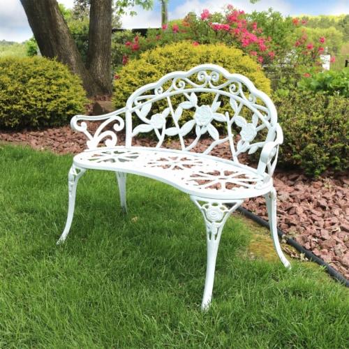 Sunnydaze 2-Person Classic Rose Cast Aluminum White Outdoor Patio Garden Bench Perspective: right