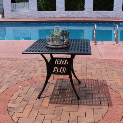 """Sunnydaze Black Heavy-Duty Cast Aluminum Outdoor Square Patio Dining Table - 35"""" Perspective: right"""
