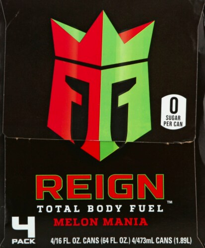 Reign Melon Mania Energy Drinks Perspective: right
