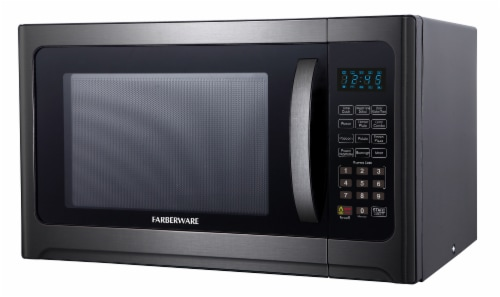 Farberware 1100-Watt Microwave Oven with Grill - Black / Stainless Steel Perspective: right