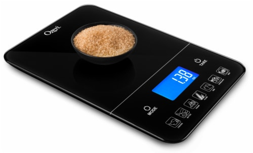 Ozeri Touch III 22 lbs (10 kg) Digital Kitchen Scale with Calorie Counter, in Tempered Glass Perspective: right