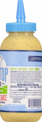 Blue Top Brand Lime Jalapeno Creamy Hot Sauce Perspective: right