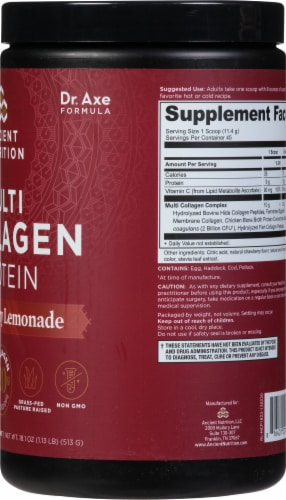 Ancient Nutrition Strawberry Lemonade Multi Collagen Protein Powder Perspective: right