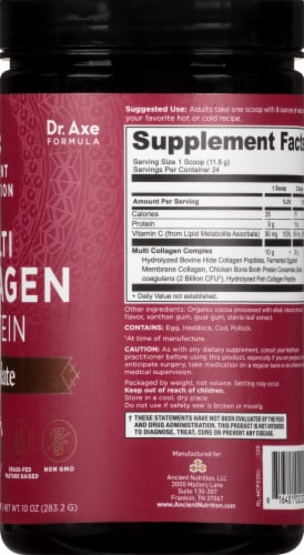 Ancient Nutrition Chocolate Multi Collagen Protein Perspective: right