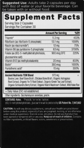 Ancient Nutrition B-Complex Vitamin Capsules Perspective: right