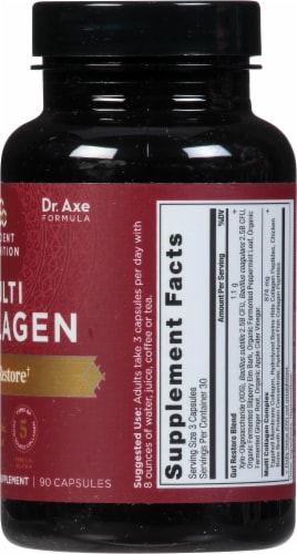 Ancient Nutrition Multi Collagen Protein Gut Restore Capsules Perspective: right