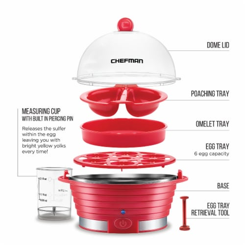 Chefman Electric Egg Cooker Boiler - Red Perspective: right