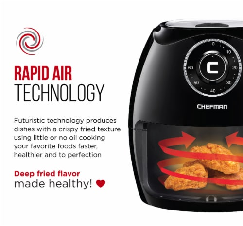 Chefman Flat Basket Air Fryer - Black Perspective: right