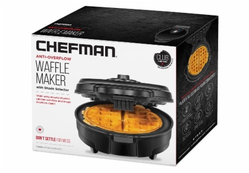 Chefman Anti-Overflow Belgian Waffle Maker - Black Perspective: right