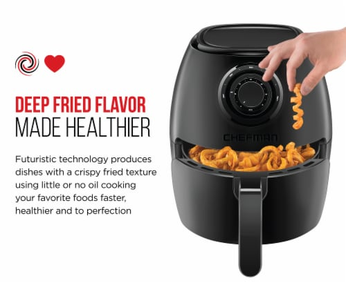 Chefman Analog Air Fryer with Dual Control - Black Perspective: right