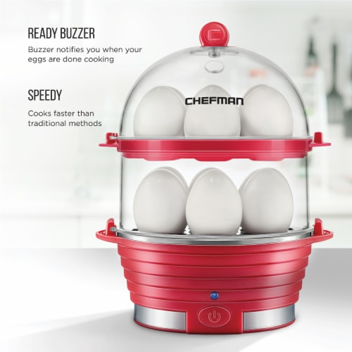 Chefman Electric Double Decker Egg Cooker - Red Perspective: right