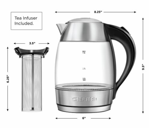 Chefman Electric Glass Kettle - Silver/Black Perspective: right