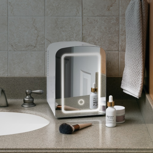 Chefman Portable LED Mirrored Mini Fridge - White Perspective: right