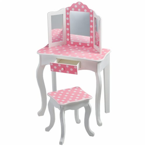 Fantasy Fields Kids Vanity Set Wooden Table with Mirror & Stool Pink TD-11670F Perspective: right
