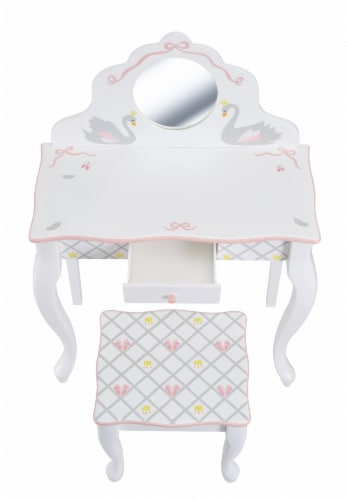 Fantasy Fields Swan Lake Girls Wooden Vanity Set & Stool Kids Dress Up TD-12890A Perspective: right