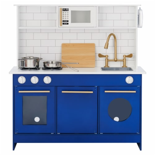 Blue Kids Toy Kitchen Wooden Cooker Children Imitation Play TeamsonKidsTD12681B Perspective: right