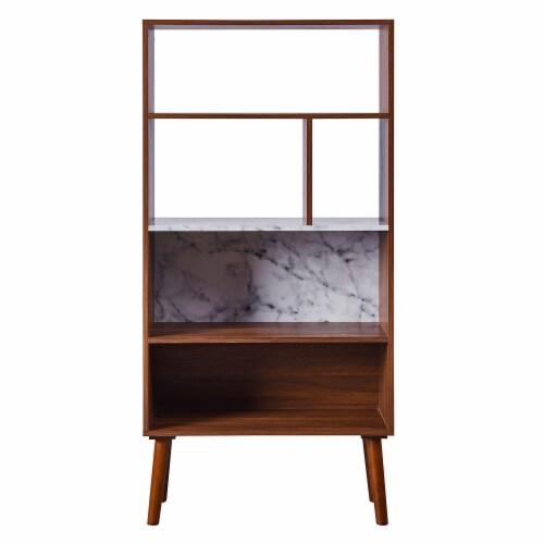 Versanora Wooden Bookcase Bookshelf 4 Tier Faux Marble Walnut Kingston VNF-00078 Perspective: right