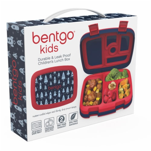 Bentgo Kids Durable & Leak Proof Rocket Children's Lunch Box - Red/Navy Perspective: right