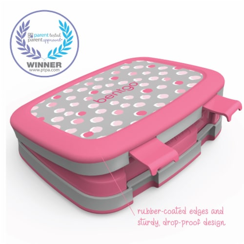 Bentgo Kids Durable & Leak Proof Pink Dots Children's Lunch Box - Gray Perspective: right