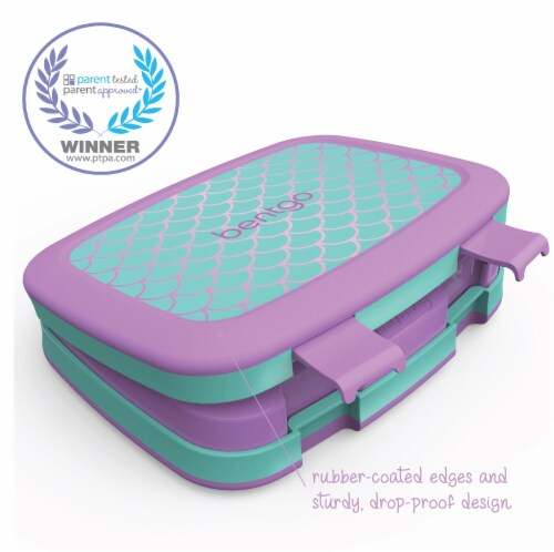 Bentgo Kids Durable & Leak Proof Mermaid Scales Children's Lunch Box - Aqua Perspective: right