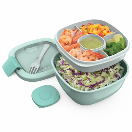 Bentgo Salad On-The-Go Food Container - Coastal Aqua Perspective: right