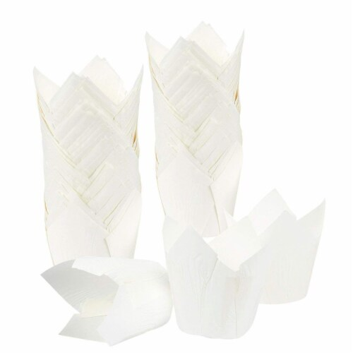 Tulip Muffin Wrappers, Cupcake Paper Liners (White, 100 Pack) Perspective: right