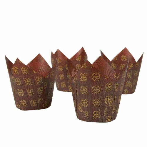 "100-Pack Tulip Paper Cupcake Liners for Muffin Baking - Brown & Gold Prints, 2.2"" Diameter Perspective: right"
