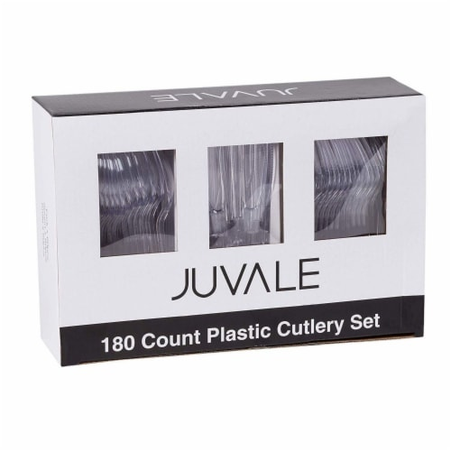 Juvale 80-Piece Clear Disposable Plastic Cutlery Set, BPA Free and Food Grade Perspective: right