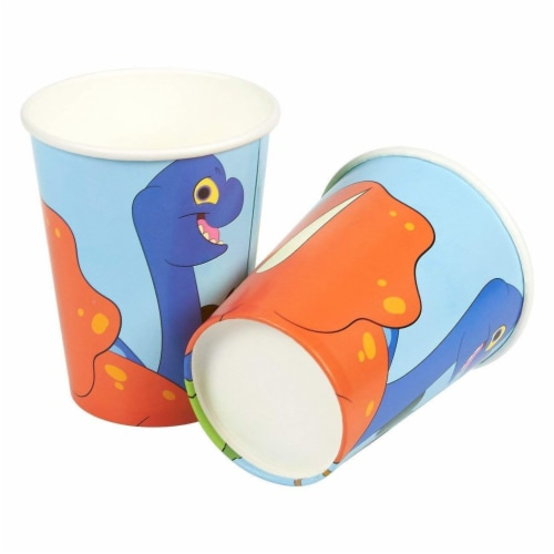 Dinosaur Party Dinnerware Set, Plates, Cutlery, Cups, and Napkins (Serves 24, 144 Pieces) Perspective: right