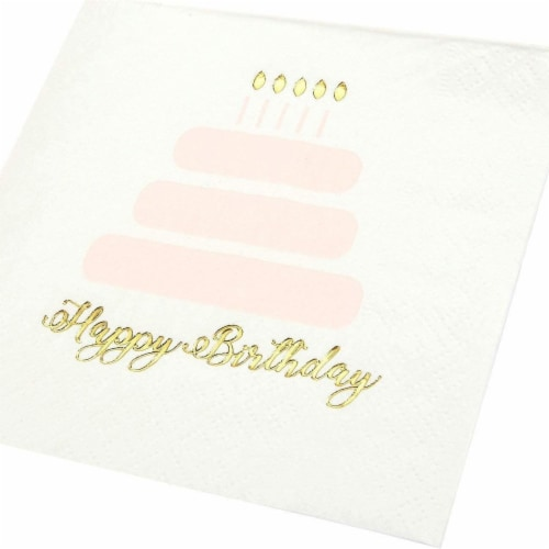 Happy Birthday Party Decorations, Cake Napkins with Gold Foil (50 Pack) Perspective: right