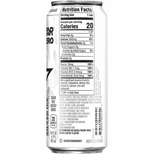 Rockstar Pure Zero Silver Ice Natural Flavor Energy Drink Perspective: right