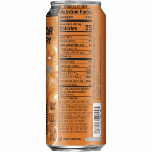 Rockstar Recovery Orange Energy Drink Perspective: right