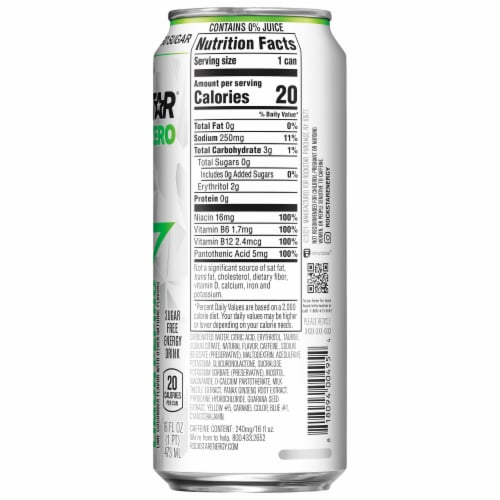 Rockstar Pure Zero Lime Cucumber Sugar Free Energy Drink Perspective: right