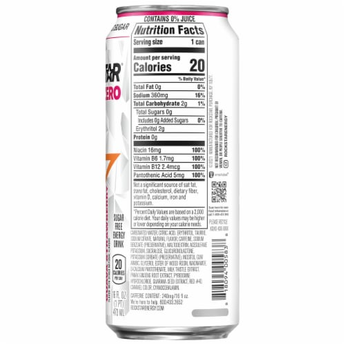 Rockstar Pure Zero Tangerine Mango Guava Strawberry Energy Drink Perspective: right